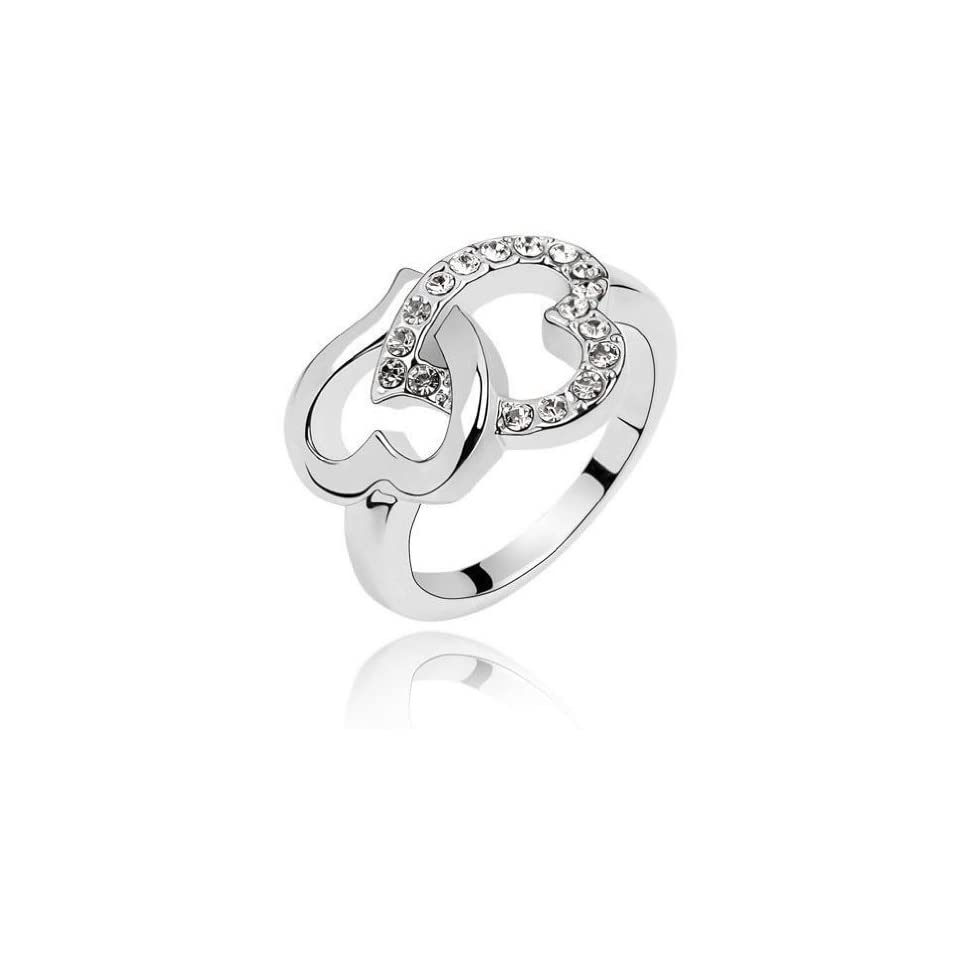 Jewelry Locker White Gold Plated Swarovski Crystals Double Heart Ring