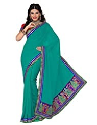 Deepika Saree Faux Georgette Saree With Blouse (G-29_Rama Green)
