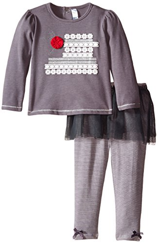 Petit Lem Baby-Girls Newborn Holiday Flowers Top and Legging Set, Grey, 6 Months