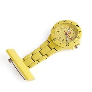 SODIAL(R) Reloj Bolsillo Tipo Enfermera Cuarzo Esfera Redondo con Broche Moda Amarillo marca SODIAL(R)