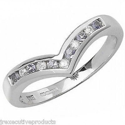 White Gold Tanzanite & Diamond Wishbone Eternity Ring (available in sizes J - S)