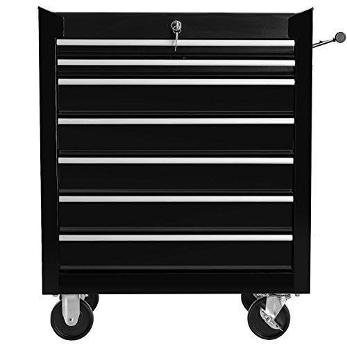 Merax 7 Drawer Tool Cabinet Tool Box Storage Chest with Rolling Casters (black)