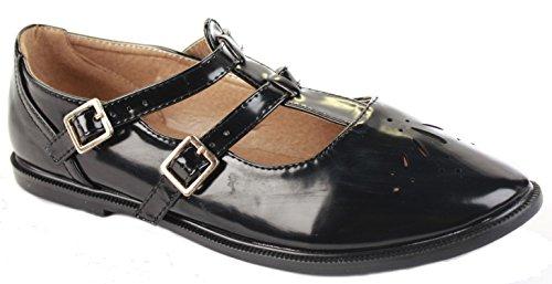 FrontCover, Cinturino a T donna, Nero (Style 3 - Black Gloss), 38.5