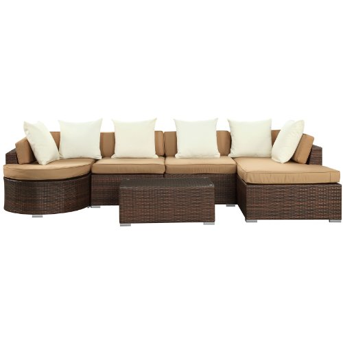 Groovy Lexmod Montana Outdoor Wicker Rattan Patio Sectional Sofa Beatyapartments Chair Design Images Beatyapartmentscom