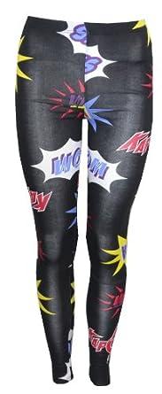 Womens Pow Cartoon Leggings Pants (US 10/12 (UK12/14))
