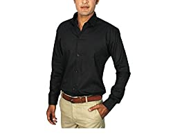 China Collection Men's Casual Shirt(CC06XL_Black_X-Large)