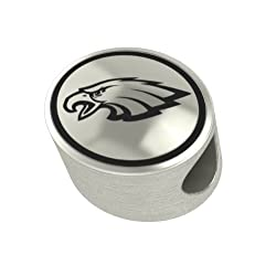 Philadelphia Eagles Silver NFL Bead Fits Most European Style Charm Bracelets