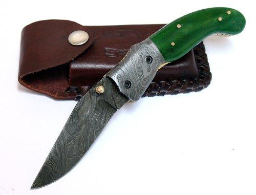 "8"" Damascus Steel Sharp Real Green Bone Handle Folding Knife Hand Made"
