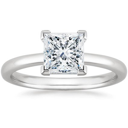 18K White Gold Solitaire Diamond Engagement Ring Princess Cut ( I Color Vs2 Clarity 0.71 Ctw) - Size 4