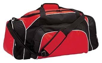 Two-Way Zipper Tournament Duffle Bag, Black/Cardinal/White, One Size