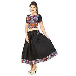 AnjuShree Choice Women's Multi Coloured Cotton Lehenga Cholis Style Kurta Kurti (Medium)