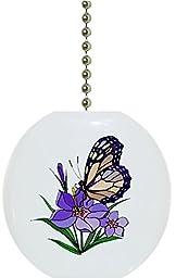 Carolina Hardware and Decor 1080F Butterfly Purple Flower Ceramic Fan Pull