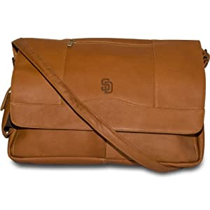 MLB Tan Leather Laptop Messenger Bag by Pangea Brands