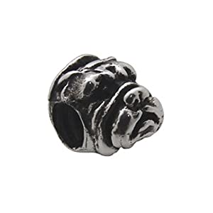Zable(tm) Sterling Silver Bull-Dog Face Bead / Charm