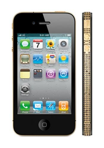 Apple iPhone 4 32GB - 24k Classic Gold and Black Diamonds Luxury Mobile Phone