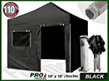 Eurmax Professional 3m x 3m Pop Up Gazebo Aluminum Gazebo Quick Marquee Folding Tent With Four Side Panels And Wheeled Carry Bag, Bonus Awning (Black)