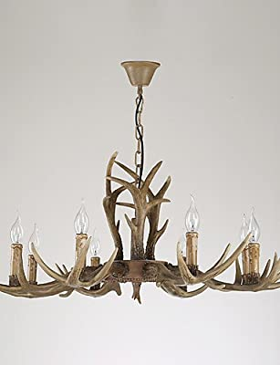 qiuxi High-end fashion Interior Ceiling lamp 8 Heads Retro Antler Chandelier Lamp Mule Deer Pedant Lamp Fit for the Hotel / Coffee Room Decorate Chandelier Light , 110-120v