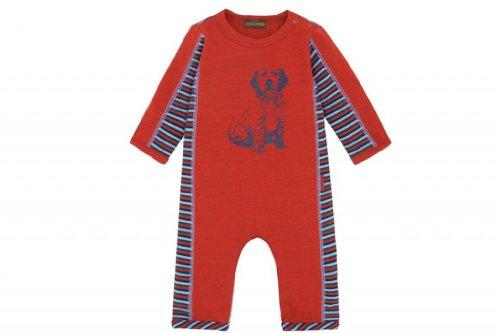Rabbit Moon Baby Boys' Stripe Coverall W/Dog