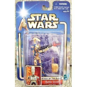 Stars Wars Attack of the Clones (AOTC) Action Figure- Battle Droid Arena Battle by Hasbro (English Manual)