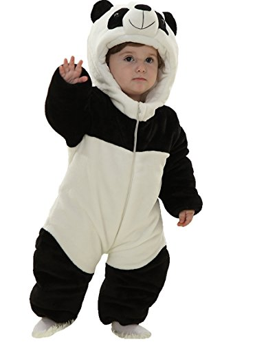 Infant Baby Boys Girls Winter Flannel Panda Bunting Outfits Snowsuit Romper Outwear Coat 12-18 Months Panda