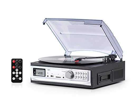 Record Player with Speakers and Cassette Player - Record on USB From Turntable & Cassette - 3 Speed Stereo Vinyl Record Player - A Vinyl Player with a Remote Control - Wooden Phonograph Record Player (Deck Turntable compare prices)