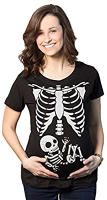 Maternity White Skeleton Rib Cage Halloween T-Shirt Funny Pregnancy Tee