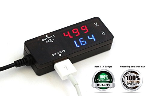 AboveTEK® USB Power Meter USB Current Meter – Also Working as USB 2.0 Hub with Two USB Ports for Charging and Data Sync – Portable USB Power Monitor USB Current Monitor USB Charging Tester and USB Monitor Adapter – Dual Bright LED Display for Concurrent Real-Time USB Current and Voltage Monitor – Best Tools to Check Solar Panel Charger USB Wall Charger Power Bank Performance and Lightning Cable Micro USB Cable Quality – Two Colors Clear View for Amp and Volt Readers – Great Outdoor Visibility Under Strong Sunlight – Improve Charging Efficiency for iPhone iPad Galaxy Smartphone and Tablet Kindle Nexus – Must Have DIY Gadget Gift for Kid or Teenager – Premium Quality USB Detector