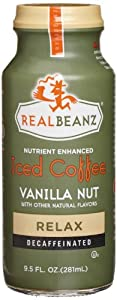 Realbeanz Relax Decaffeinated Iced Coffee, Vanilla Nut, 9.5 Ounce (Pack of 12)