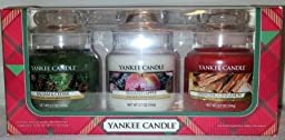 Yankee Candle Christmas Gift Set - Balsam and Cedar + Sugared Apple + Sparkling Cinnamon - Christmas Holiday Gift Set of THREE Baby Jars - 3.7 oz small housewarmer jars