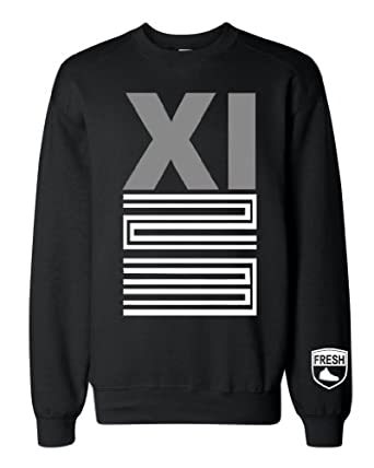 Buy FTD Apparel Mens Jordan Jordans 11 bred 11 xi grey shoes Crew Neck Sweater by FTD Apparel