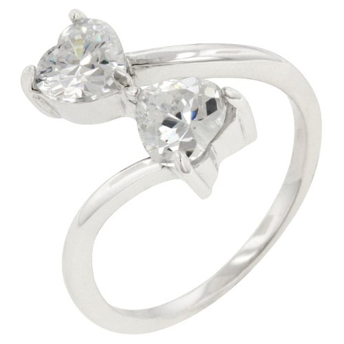 Sterling Silver Cubic Zirconia 6 Prong Set Anniversary Ring in Size 10