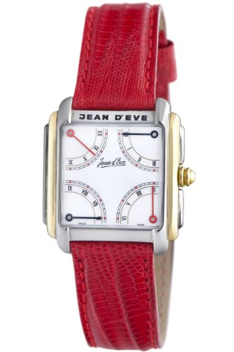 Jean D'eve Men's 092452ER.AY.R Quarta Automatic White Dial Red Lizard-Leather Watch