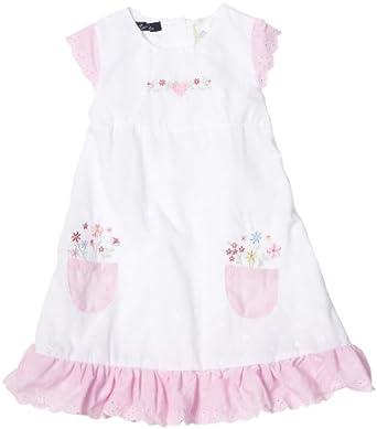 So La Vita Little Girls' Eyelet Flower Pocket Dress, White/Pink, 6