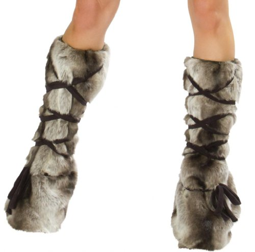 J Valentine Women's Faux Fur Leg Warmers for Dragon Slayer Sexy Halloween Costume