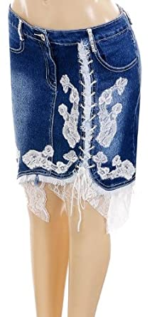 Sexy Studded Blue Jean Skirt with Rhinestone, Corset Strings & Old Lace XS - XL Sizes
