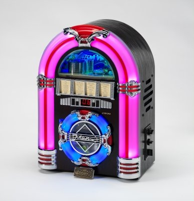 Mini Jukebox with CD Player, USB Socket and 7 colour changing LCD lights in Dark wood