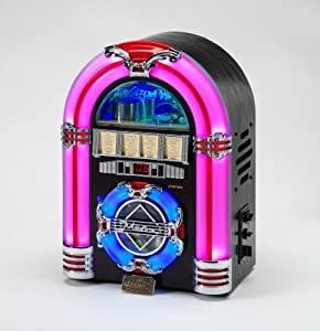 Review and Buying Guide of Cheap Mini Jukebox with CD Player, USB Socket and 7 colour changing LCD lights in Dark wood