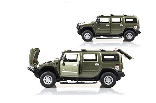 Tourwin Toy car 1:24 Hummer H2 simulation Army Green Glider Car Model Collection Decoration Alloy children's toys 4 doors can open