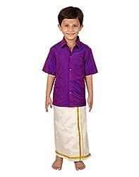 Thangamagan Boy's Shirt/Dhoty Regular Fit(Purple,Age : 8 to 9 Years)