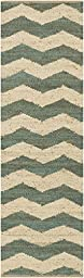 Blue Rug Striped Design 2-Foot 3-Inch x 8-Foot Jute Chevron Natural Fiber Carpet