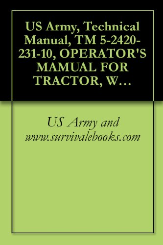 Us Army, Technical Manual, Tm 5-2420-231-10, Operator'S Mamual For Tractor, Wheeled, Industrial Backhoe Laoder (Bhl) Nsn 2420-01-532-3399