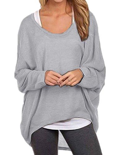 Ydarton Ladies Manica Lunga Maglione Asimmetrico Cardigan Oversize Larghi Sciolto Camicia Top Camicetta (XL, Grigio)