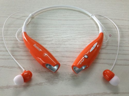 Soundbeats Universal Hv-800 Wireless Music A2Dp Stereo Bluetooth Headset Universal Vibration Neckband Style Headset Earphone Headphone For Cellphones Enabled Bluetooth (Orange, Hbs-800)