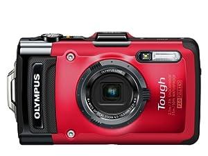 Olympus TG-2 Digitalkamera (12 Megapixel CMOS-Sensor, 4-fach opt. Zoom, 7,6 cm (3 Zoll) OLED-Display, F2,0 Objektiv, GPS, wasserdicht bis 15 m, kälteresistent, staub-, stoß und bruchgeschützt) rot