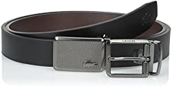 Lacoste Men's Premium Leather Belt with Interchangeable Metal Plate Buckles Set, Black/Brown, 85