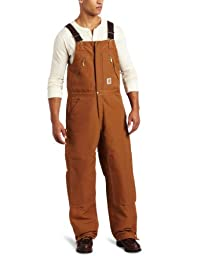 Carhartt Men's Quilt Lined Zip To Waist Biberalls,Brown,38 x 32