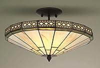 Mission Tiffany Semi Flush Ceiling Light