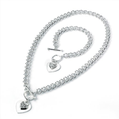 Twin Crystal Silver Finish Heart T-Bar Bracelet Necklace Fashion Jewellery Set