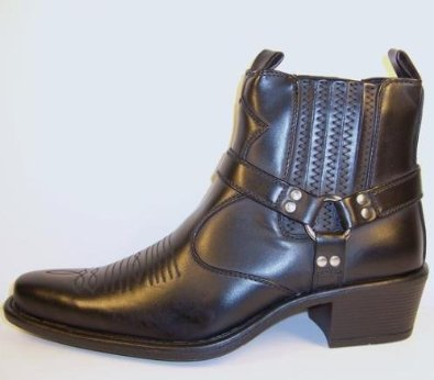 mens cowboy boots us style cuban heel harness high ankle