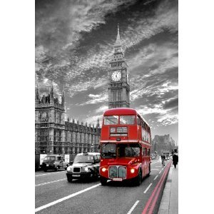 poster de londres avec big ben bus et cabine telephonique anglaise deco londres. Black Bedroom Furniture Sets. Home Design Ideas